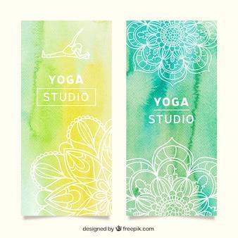 Banners de yoga en acuarela