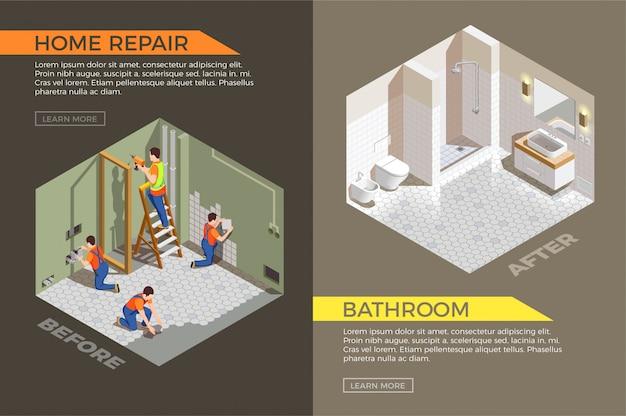 Baño antes y después de los trabajos de construcción.