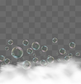 Baño de espuma realista. burbujas de champú transparentes, armazón jabonoso, espuma de gel de afeitar para ducha plantilla de diseño