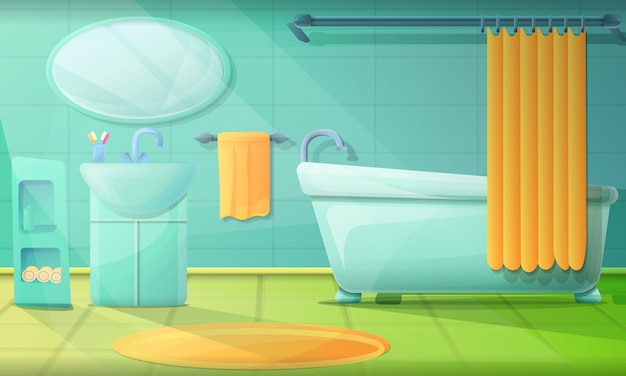 Baño en estilo de dibujos animados, ilustración vectorial