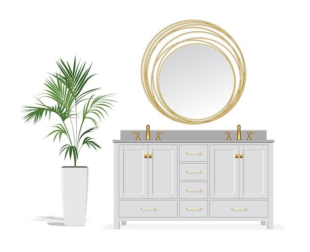 Baño de estilo. tocador, espejo y palmera howea decorativa.