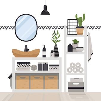 Baño moderno y elegante en estilo escandinavo. interior acogedor minimalista con cajones, espejo, estantes, lámpara y plantas.