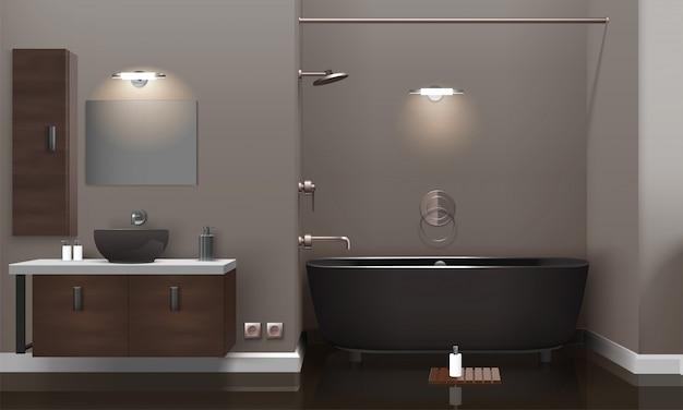 Baño realista diseño de interiores