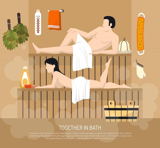 Baño sauna familia visita ilustración cartel