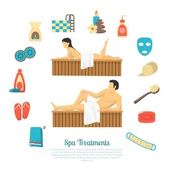 Baño sauna ilustración elementos y personajes, hombre y mujer.