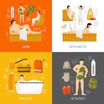 Baño sauna spa elementos y personajes.