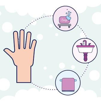 Baño de toallas y lavamanos de jabón humano