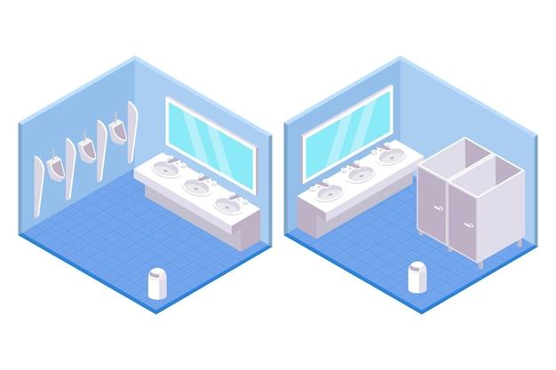 Baños públicos isométricos para hombres y mujeres.