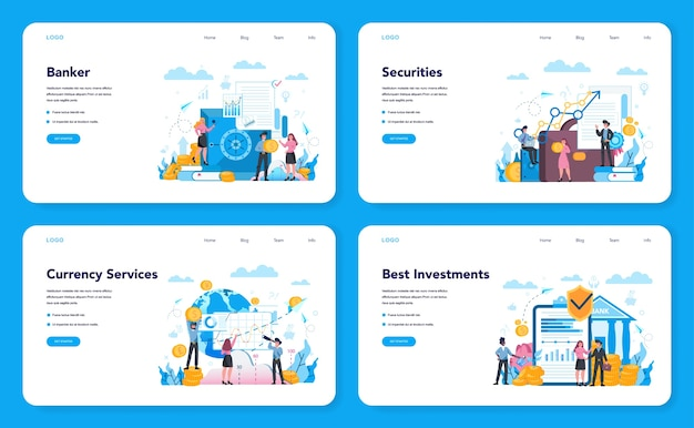 Banquero o banner web bancario o conjunto de página de destino. idea de ingresos financieros, ahorro de dinero y riqueza. depositar e invertir una contribución en el banco.
