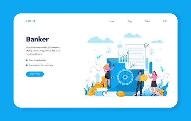 Banquero o concepto bancario banner web o página de destino