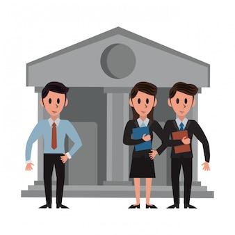 Banqueros sobre edificio bancario