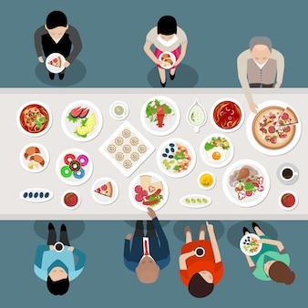 Banquete de catering fiesta vista superior