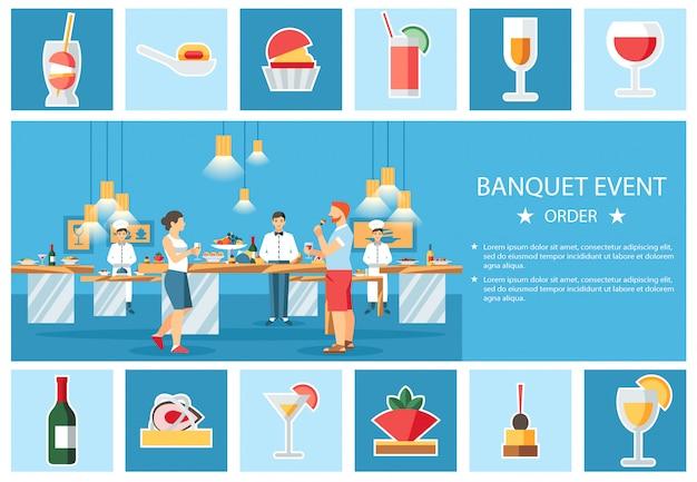 Banquete evento vector plano banner plantilla de diseño