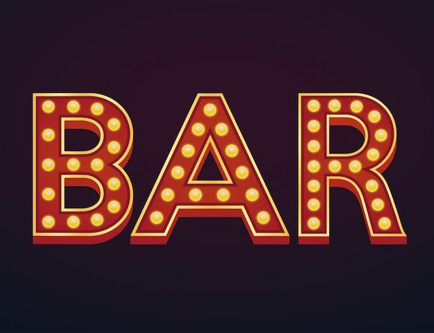 Bar banner alfabeto signo carpa bombilla vintage