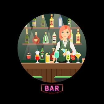Bar y barman con cócteles.