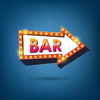 Bar cartelera. marcos de luz de flecha retro.
