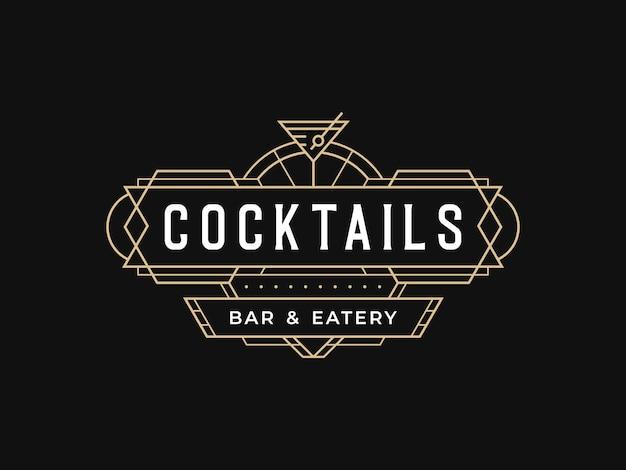 Bar de cócteles, salón, pub, restaurante, logotipo, diseño, con, vintage, art deco, estilo