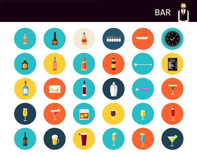 Bar concepto de iconos planos.