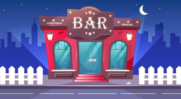 Bar en la ilustración de color nocturno. café local con acera en la noche. pub de lujo exterior. lugar para bebidas. edificio de ladrillo rojo. paisaje urbano de dibujos animados con nadie en el fondo