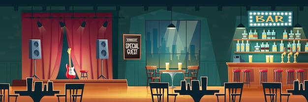 Bar de música, pub de cerveza con actuaciones en vivo interior de dibujos animados
