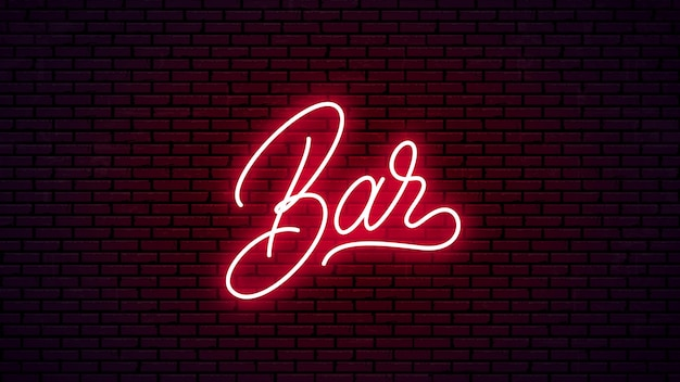 Bar neón letras dibujadas a mano. listo diseño de letrero brillante. texto de neón aislado sobre fondo de pared de ladrillo.