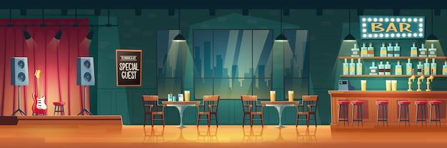 Bar o pub con interior de dibujos animados de música en vivo