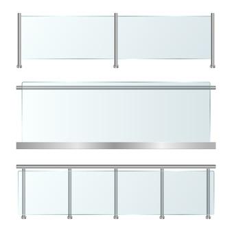 Barandilla de vidrio set ilustración sobre fondo blanco.