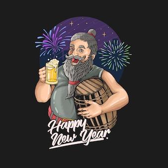 Barba, anciano, año nuevo, celebración, bebida, cerveza, ilustración, vector