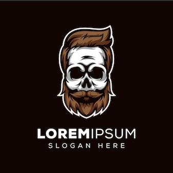 Barba de calavera, plantilla de logotipo de barbero de calavera