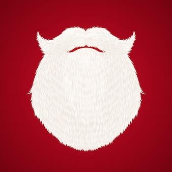 Barba de santa claus sobre fondo rojo