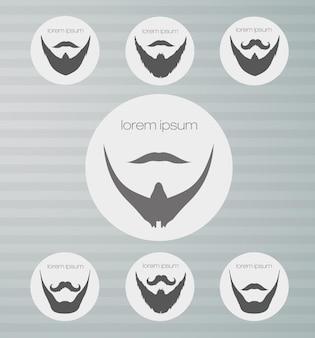 Barba de iconos redonda con bigote.