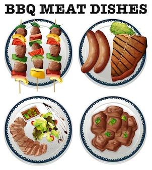 Barbacoa carne diferente en las placas