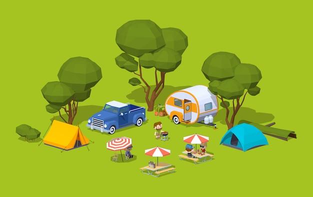 Barbacoa isométrica en 3d en el campamento turístico.