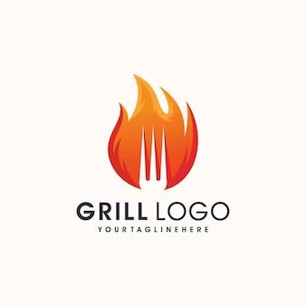 Barbacoa vintage grills con tenedor y logo de llama de fuego