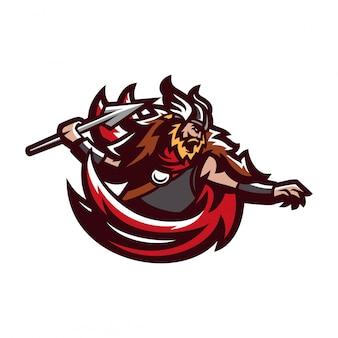 Bárbaro viking knight esport gaming mascot logo template