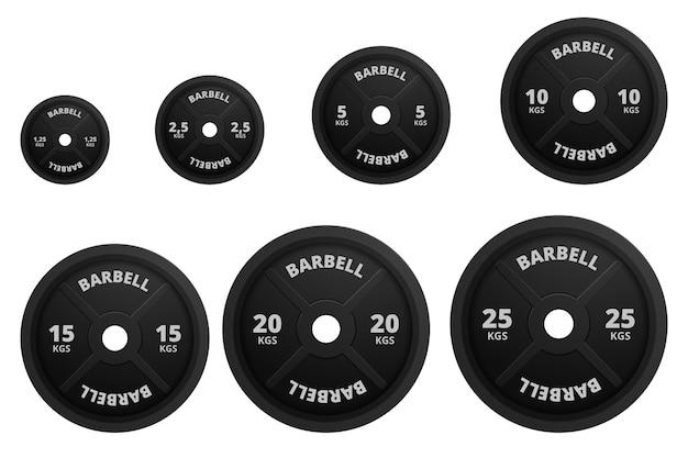 Barbell detallado 3d realista con placas