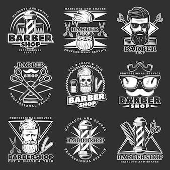 Barber hipster emblem set