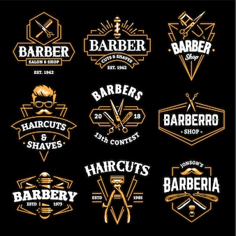 Barber shop emblemas retro