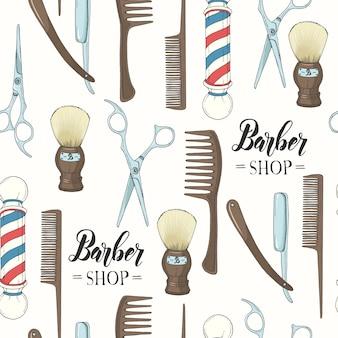 Barber shop de patrones sin fisuras con navaja de afeitar dibujada a mano, tijeras, brocha de afeitar, peine, poste de peluquería clásica.