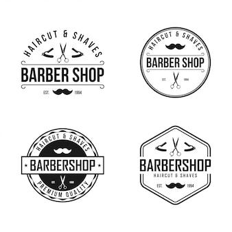 Barber shop vintage etiqueta, insignia o emblema sobre fondo blanco.