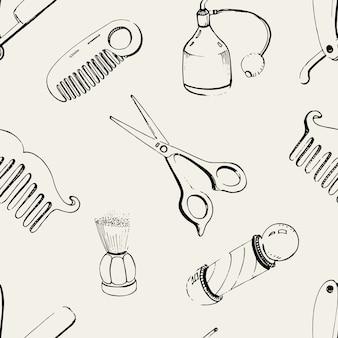 Barbería dibujada a mano sin costuras con peine de accesorios, maquinilla de afeitar, brocha de afeitar, tijeras, poste de barbero y spray de botella. patrón de ilustración en blanco y negro.
