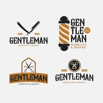Barbería retro logo design pack