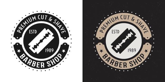 Barbería vector dos insignia redonda vintage negra y coloreada, emblema, etiqueta o logotipo con navaja de afeitar sobre fondo blanco y oscuro
