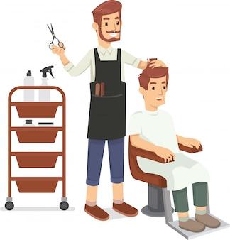 Un barbero afeita el pelo del cliente.