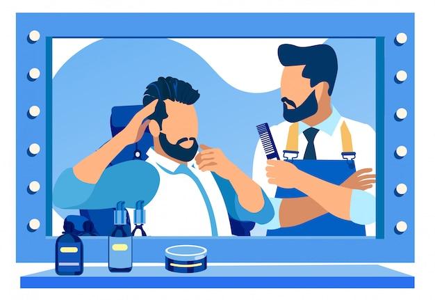 Barbero cortando la barba de los clientes en el espejo enorme