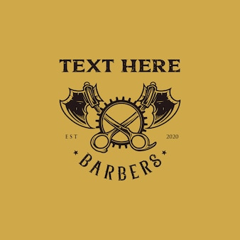 Barbershop logo tijera y hacha