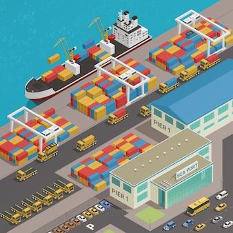 Barcaza de carga amarrada en el puerto