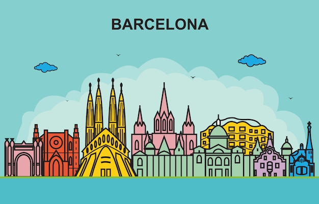 Barcelona city tour paisaje urbano skyline ilustración colorida