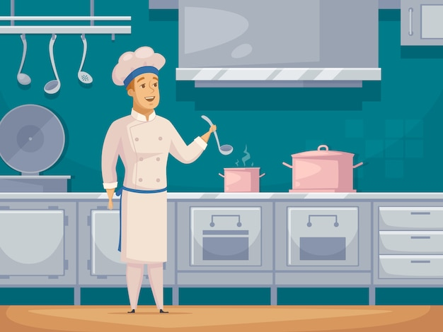 Barco cocinero personaje de dibujos animados banner