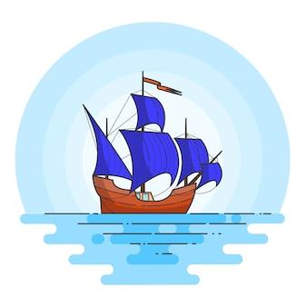 Barco de colores con velas azules.
